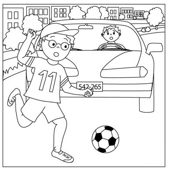 child street safety coloring page