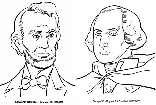Abraham Lincoln and George Washington Coloring Page of President