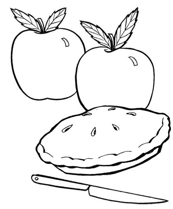 Apple Pie Coloring Page for Children