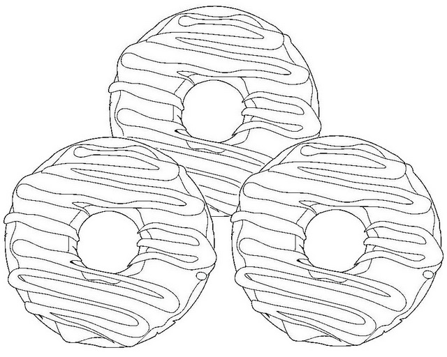 Baked Cake Donuts Coloring Page