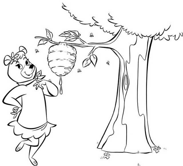 Cindy Bear Taking Honeycomb Coloring Page
