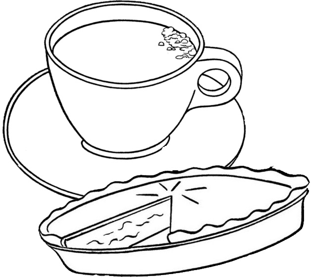 Coffee and Pie Coloring Page