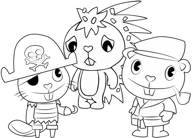 Flaky Russel and Pop Coloring Page of Happy Tree Friends