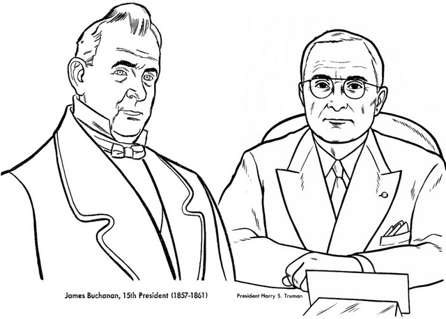 James Buchanan and Harry S Coloring Page of President