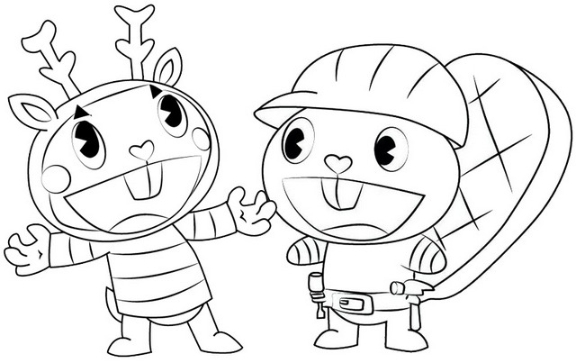 Mime and Handy Coloring Page of Happy Tree Friends
