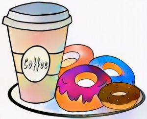 My Work of Coloring Donut and Cup of Coffee