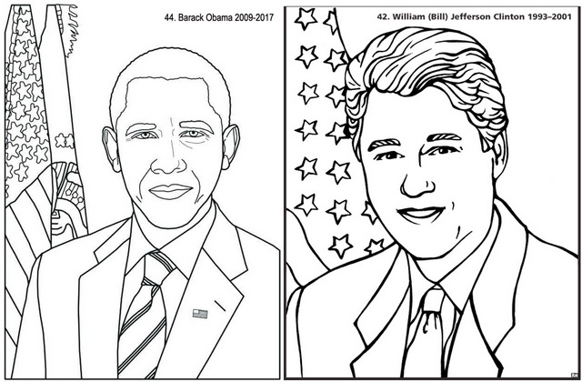 Obama and Bill Clinton Coloring Page of President