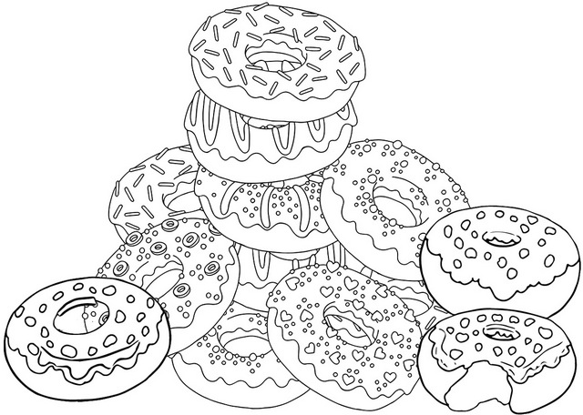 Sweet colorful donut coloring page