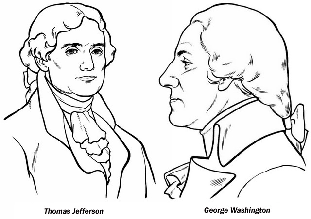 Thomas Jefferson and George Washington Coloring Page of President