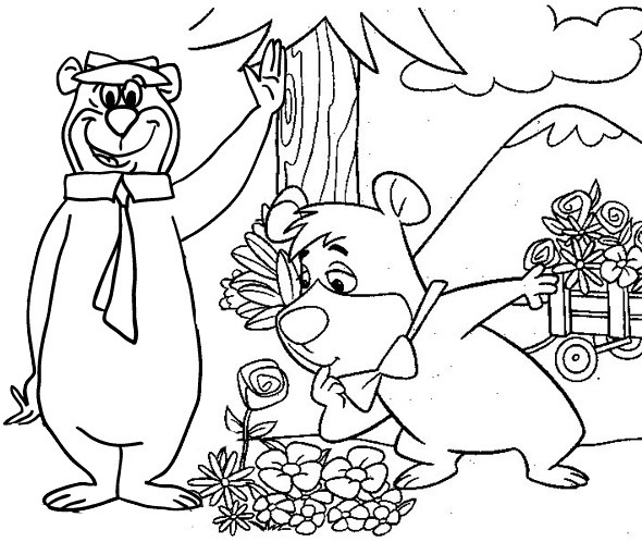 Yogi Bear and Boo Boo in the Flower Garden Coloring Page