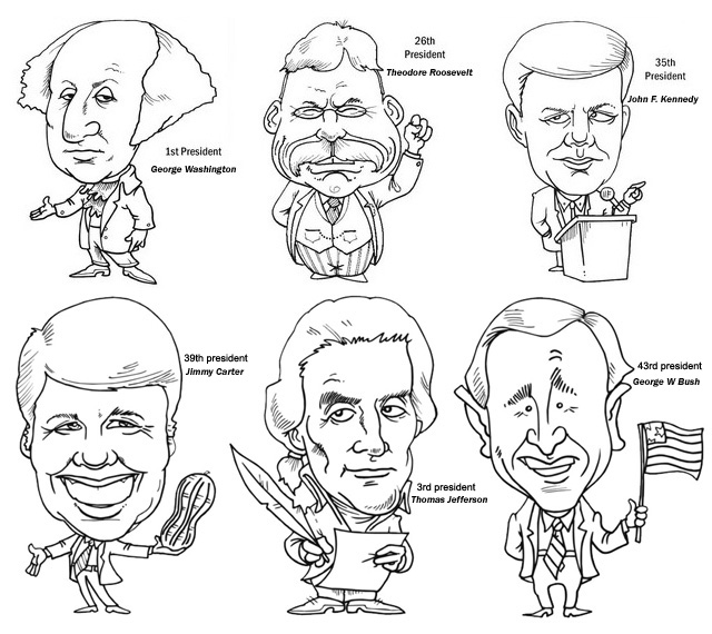 caricature of presidents coloring page