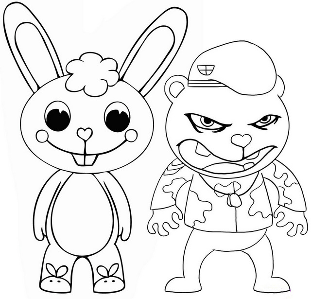 cuddles and flippy coloring page of happy tree friends