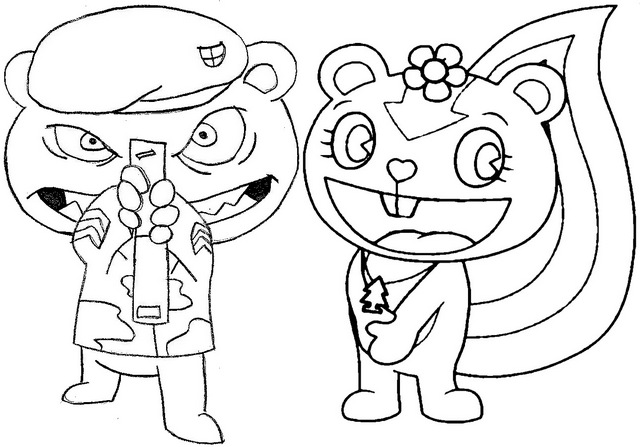 flippy and petunia coloring page of happy tree friends