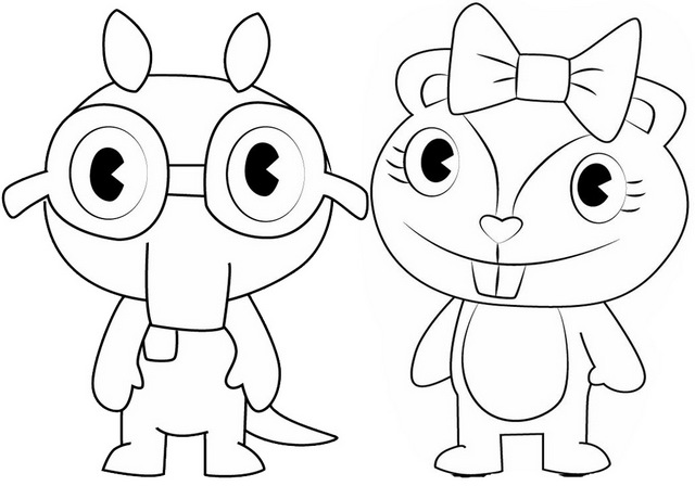 giggles and sniffles coloring page of happy tree friends