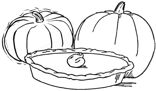 thanksgiving pie coloring page of pumpkin