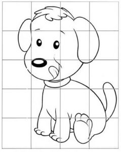 Dog Animal Grid Drawing