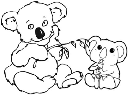 Koala eating and drinking milk coloring page of koala cartoon