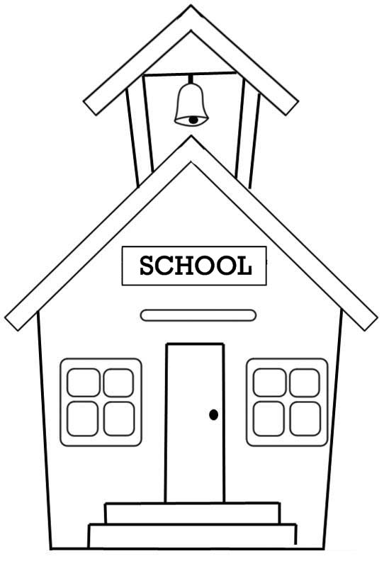 Public School House Coloring Page