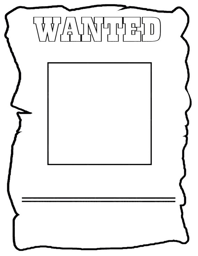 Wanted Poster Template Coloring Page