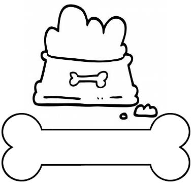 a bone and dog bowl coloring page