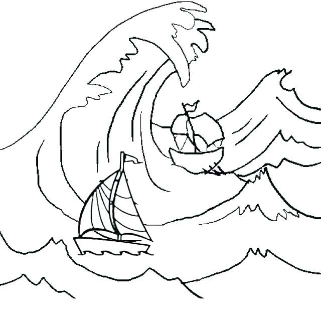 boats caught inside massive waves coloring page
