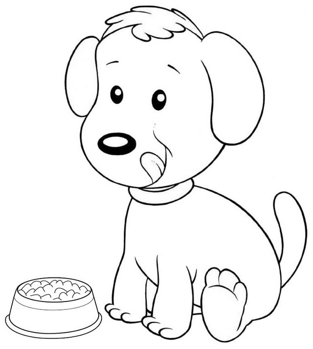 cute dog ready to eat coloring page