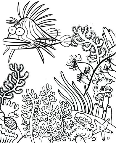 cute lionfish cartoon coloring page