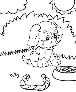 cute little dog in the garden coloring page