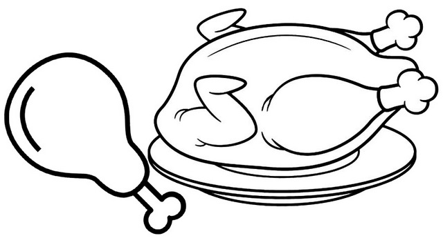 delicious fried chicken in the plate coloring page