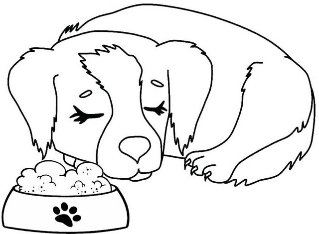 dog falling asleep coloring page