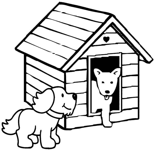 dogs meeting in the dog house coloring page
