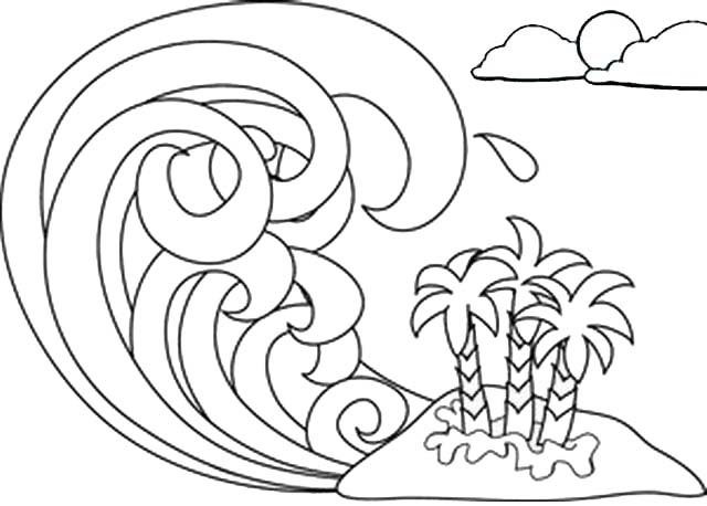 doodle wave coloring page for kids and adults