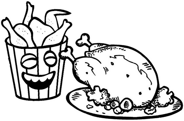 fried chicken in stripes bucket box coloring page of oven fried chicken