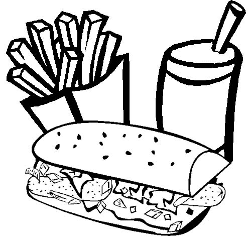 fried potato juice and hotdog coloring page
