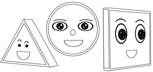 fun circle triangle square coloring page of shapes