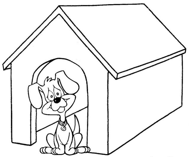 fun dog house coloring page