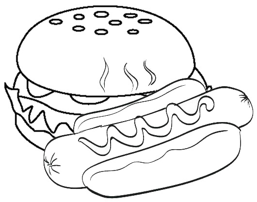 hot dog sausage and hamburger coloring page