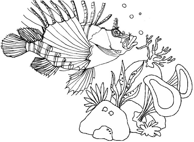 lionfish underwater coloring page of fauna