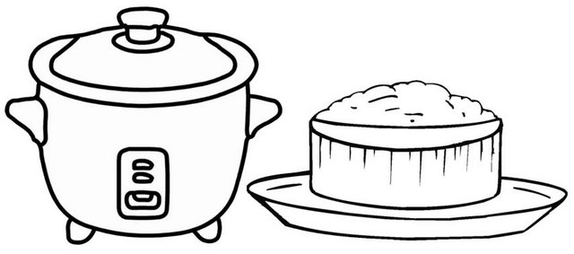 rice and rice cooker coloring page