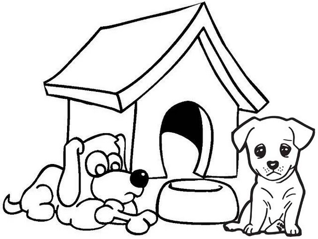 sad dog coloring page of dog house
