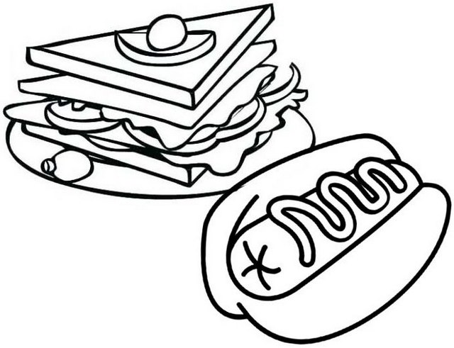 sandwich and hotdog coloring page