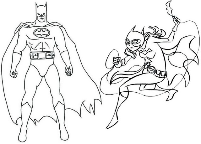 Batman and Batgirl Couple Coloring Page
