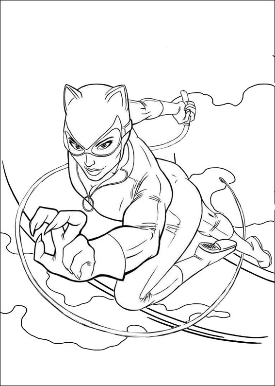 Catwoman Jumping Coloring Page