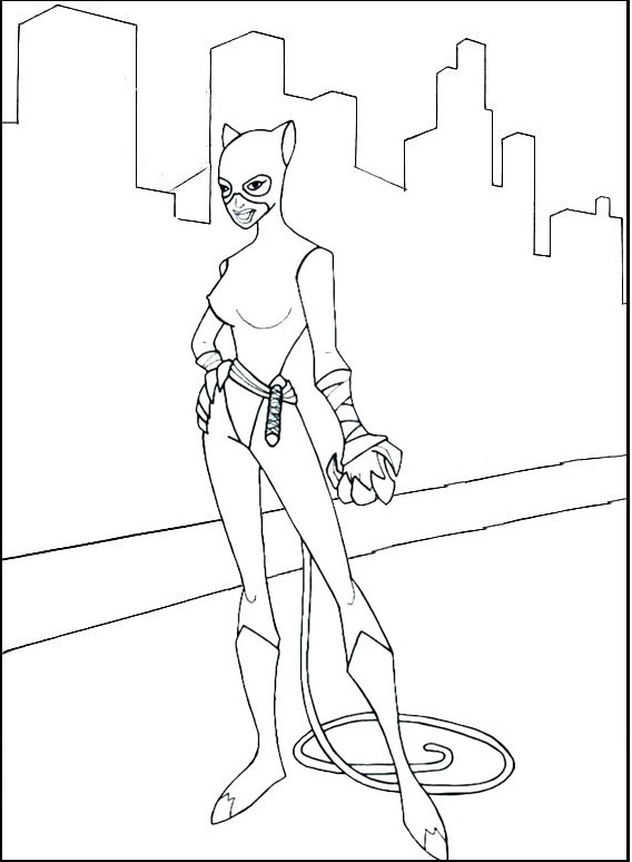 Catwoman Ready to Fight Coloring Page