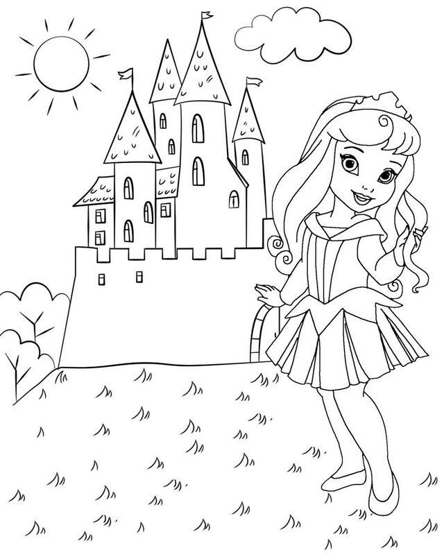 Chibi Princess Aurora and Castle Coloring Page