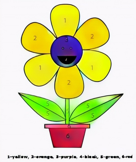 Color Flower in the pot by number result