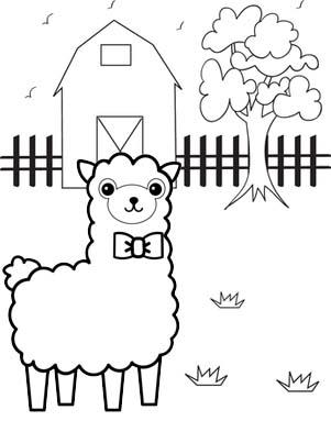 Cute Alpaca Barn Coloring Page