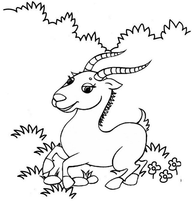 Cute Antelope Cartoon Coloring Page