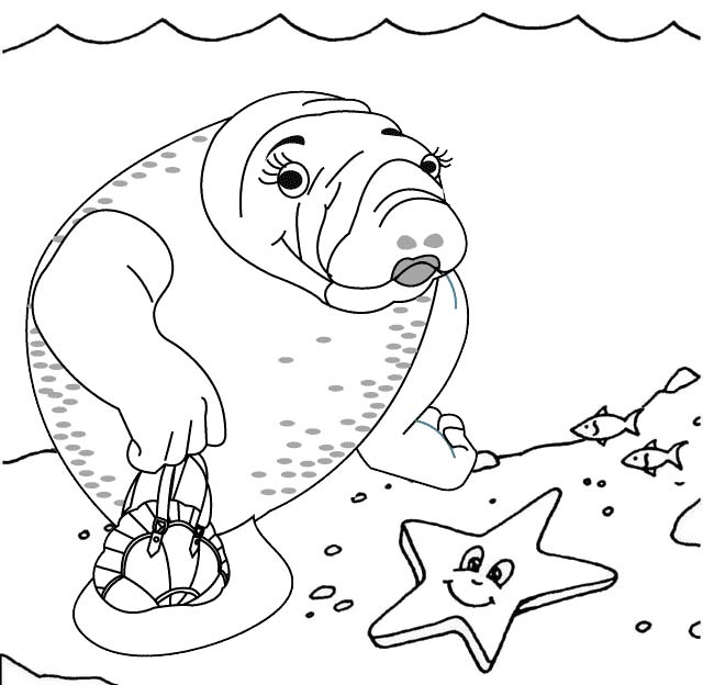 Cute Manatee and Starfish Coloring Page
