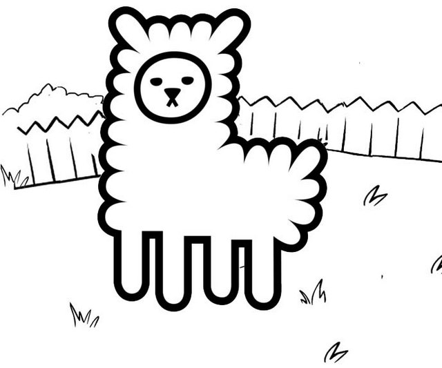 Fun Alpaca Coloring Page for Kids